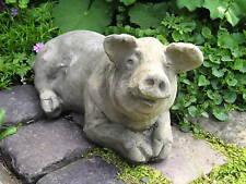 Gartenfigur Schwein Steinfigur Stein-ferkel liegend Steinguss Frostfest