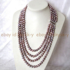 22-28'' 4 Rows 7-8mm Natural Lavender Purple Freshwater Pearl Jewelry Necklace