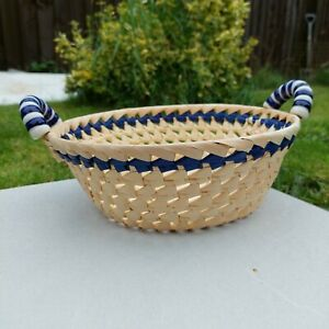 Round Open White Blue Basket With Plastic Blue White Handles Woven Straw 24cm