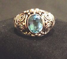 Handcrafted Sterling Silver Ring with Topaz Oval Multi-Faceted Stone Sz 7 NIB