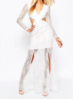 Missguided Lace Long Sleeve Cut Out Maxi Dress - UK 12