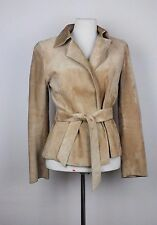 GUCCI beige suede leather jacket with tie IT42