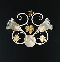 Applique parete lampada classico ferro battuto fiori foglie rose oro