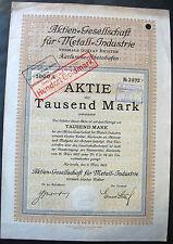 AG für Metall-Industrie vorm. Gustav Richter Karlsruhe Aktie 1922 Baden VDM mgvv