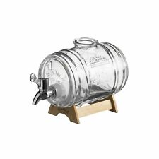 Kilner Barrel Dispenser 1l Glass With Wooden Stand Whiskey Liquor Party Drink
