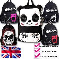 Banned Retro Black Gothic Panda Kitty Skull Emo Speakers Rucksack Walk Backpack