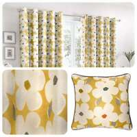 Fusion AURA Yellow Daisy Floral 100% Cotton Eyelet Curtains & Cushions