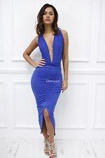 Womens Ladies Multi Way Low Cut Strappy Midi Partyinfinity Wrap Glam Dress M Khaki