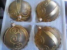 Christbaum Baumschmuck Kugel oder Glocke Goldtransparent mit gold Motiv WG 51