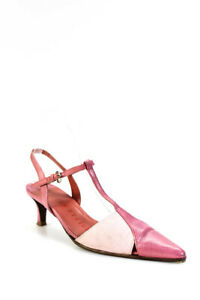 Walter Steiger Womens Pointed Toe Ankle Strap Pumps Pink Beige Leather Size 35
