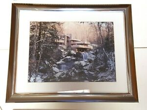 """Silver Framed/Matted Frank Lloyd Wright Falling Water House 13""""x16"""" Frame fits 1"""