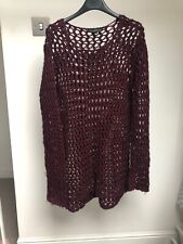 Topshop Tall Deep Red Jumper With Holey Knit Size 10