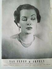 1950 Van Cleef & Arpels women's diamond necklace earrings vintage jewelry ad
