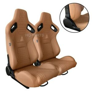 2 X TANAKA PREMIUM TAN PVC LEATHER RECLINABLE RACING SEATS FOR ALL MUSTANG