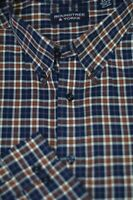 Roundtree & Yorke Men's Navy Brown White Check Cotton Casual Shirt 2XT 2X Tall
