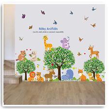 Baby Animal Wall Stickers Jungle Zoo Giraffe Tree Nursery Kids Room Decal Art
