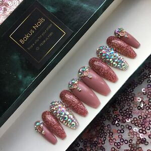 Hand Painted False Nails Nude Rose Gold Glitter Diamond Coffin Press On Nails