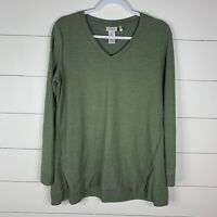 LOGO By Lori Goldstein Lounge Womens Green Size M Long Sleeve V-Neck Tunic Top