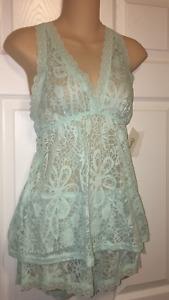 Flora Nikrooz M Camisole Tap Pants Set Bridal Blue Beautiful Burnout Effect