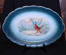 ANTIQUE 'GAME' HUGE OVAL PLATTER, WHEELING POTTERIES, VG COND
