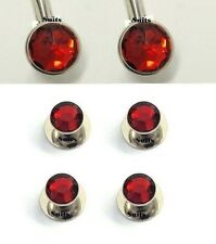 New Ruby Red Silver Crystal Tuxedo cufflinks studs Shirt cuff links Made in USA