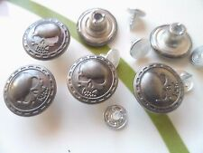 20pcs Button Metal Skull Head NO-SEW Tack Antiqued Silver Tone 15mm For Jean Hat