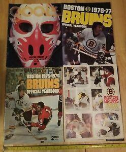 4 NHL Boston Bruins Yearbooks & Official Program Large Team Poster Bobby Orr