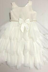 Girls American Princess White Colored Dress Sz 7 Pre Owned EUC