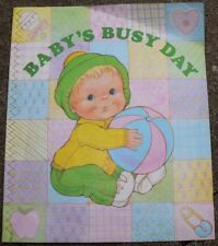 Vtg Baby's Busy Day book Nancy McConnell Current 80s cloth Rare 1985 Borgo cloth