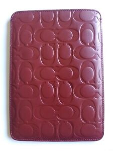 NWT Coach F63316 Signature Embossed Leather, E-Reader Case Sleeve, Red,MSRP $128