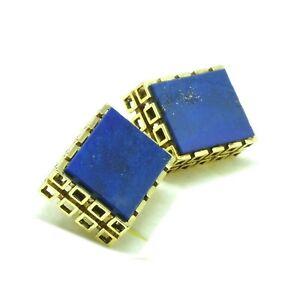 Goldene Manschettenknöpfe mit Lapis Lazuli 585 Gold um 1970 Modernist Cufflinks