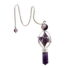 Purple Amethyst Star Pendant, Natural Gemstone Healing Pendulum Pendant