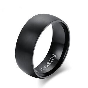 Men's Black Titanium Steel Ring 8MM Wedding Engagement Anniversary Band Size8-11