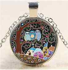 Owl Tree Of Life Cabochon Glass Tibet Silver Chain Pendant Necklace