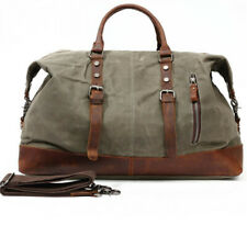 Vintage Retro Men Genuine Leather Canvas Duffle Travel Bag Lightweight Luggage
