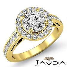 Elegant Round Cut Diamond Engagement Halo Ring GIA F VS1 18k Yellow Gold 2.3ct