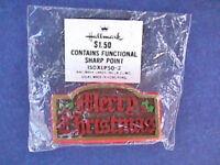 Hallmark PIN Christmas Vintage SIGN MERRY WOOD LOOK Nostalgic Holiday Brooch MIP