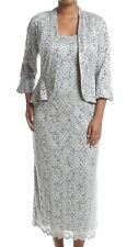 Women's Formal Plus Size Jacket Dresses 16W in Silver Mother of the Bride *NEW*