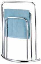 CHROME 3 TIER BATHROOM TOWEL RAIL STAND HOLDER FLOOR FREE STANDING LIGHT WEIGHT