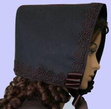 Ladies Victorian bonnet fancy dress costumeblack with guipre lace