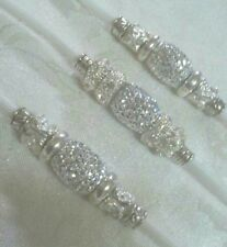 Beaded Dog Show Lead-White or white/silver fleck,snp clip,rhinestone bling beads