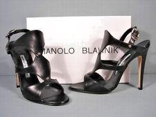 Manolo Blahnik 38.5 Black Leather Themy T-Strap Sandal Authentic Luxury Discount