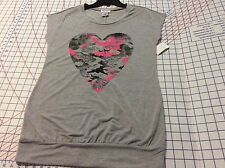 Camp Heart Banned Bottom Size S (3-5) Gray Pink Black Pullover Knit Top  NEW