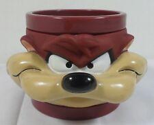 WARNER Bros LOONEY TUNES TAZ TAZMANIAN DEVIL 3D FACE PLASTIC CUP MUG RARE