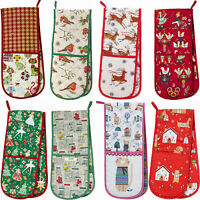 Christmas Double Oven Glove Ulster Weavers Festive Snowmen Cats Madeleine Floyd