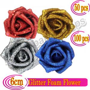 1-50PCS Glitter Foam Roses Flowers Bride Bouquet Home Wedding Xmas Party Decor