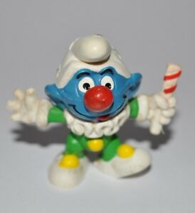 VINTAGE SMURF - CLOWN FIGURE/RED NOSE/CANDY CANE