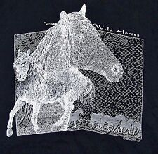 WILD HORSES / ART DESIGN / TEXAS CHIC 91 / VINTAGE ADULT BLACK T-SHIRT SIZE XL