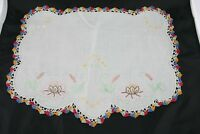 Antique Vintage Doily Embroidered Linen With Crochet Edge Vintage