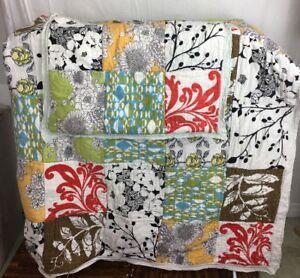 "cutter craft Quilt 100% cotton patchwork modern 10"" squares 72 x 80 & shams"